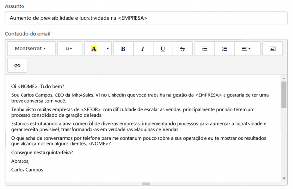 fluxos de cadência de vendas: exemplo de cold mail de vendas mkt4sales